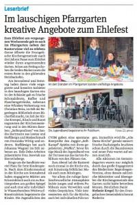 Leserbrief zum Ehlefest von Frau Kregel (Volksstimme vom 26. Juni 2014)